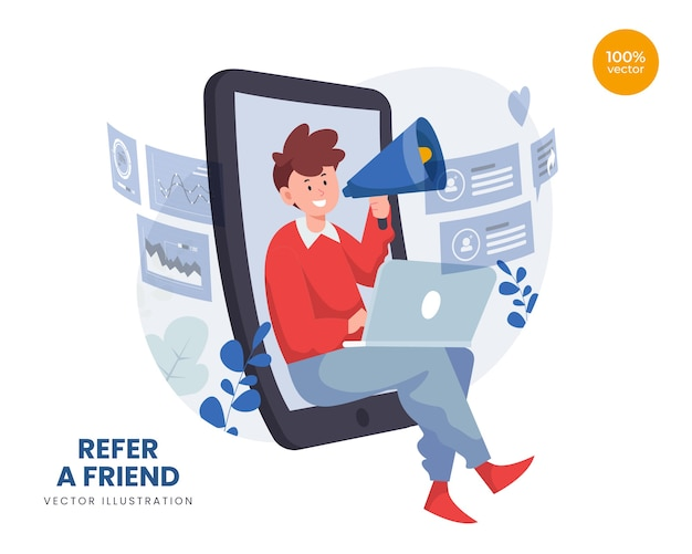 Refer a friend concept with man promotion and offering goods