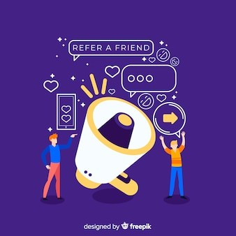 Refer a friend concept with megaphone