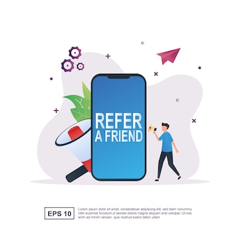 Refer a friend concept with the person holding the megaphone.