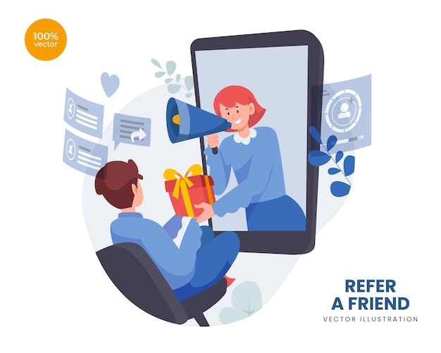 Refer a friend concept with woman promotion and offering goods to man