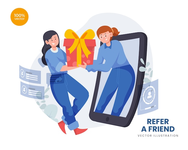Refer a friend concept with woman promotion and offering goods to people