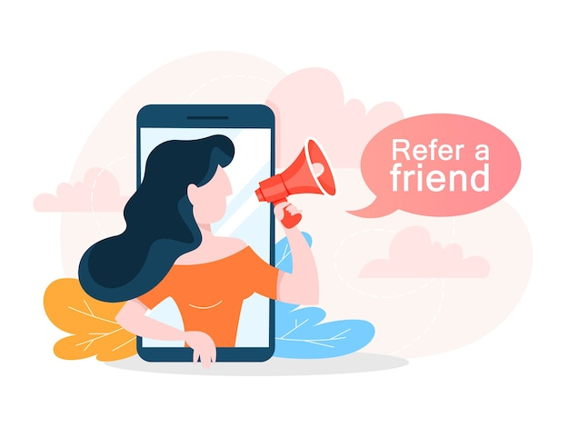 Refer a friend concept. woman make promotion