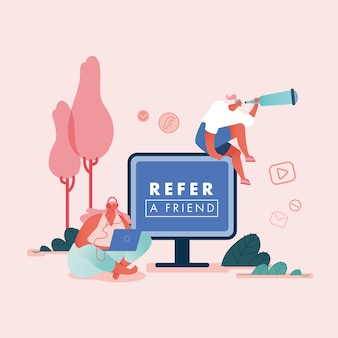 Refer a friend  concept, women with computers. referral marketing loyalty program, promotion method for landing page, template, ui, web, mobile app, poster, banner, flyer