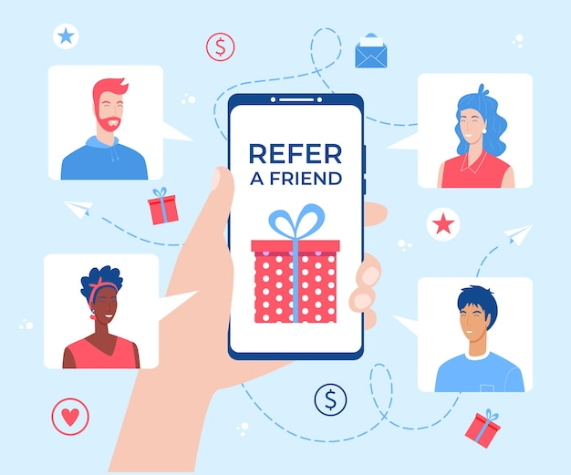 Refer a friend. hand holding smartphone with gift box on the screen.