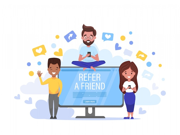 Refer a friend horizontal banner. group of young men and woman attracts customers for money and gift