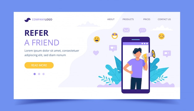 Refer a friend landing page with big smartphone with man.