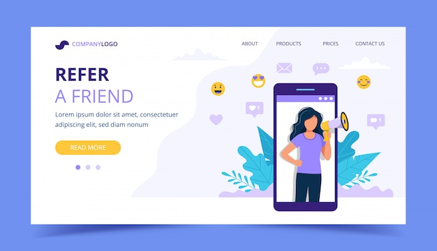 Refer a friend landing page with big smartphone with woman.