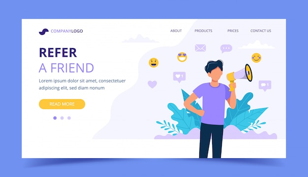 Refer a friend landing page with man holding megaphone.