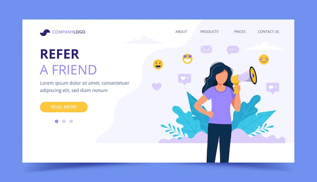 Refer a friend landing page with woman with megaphone.