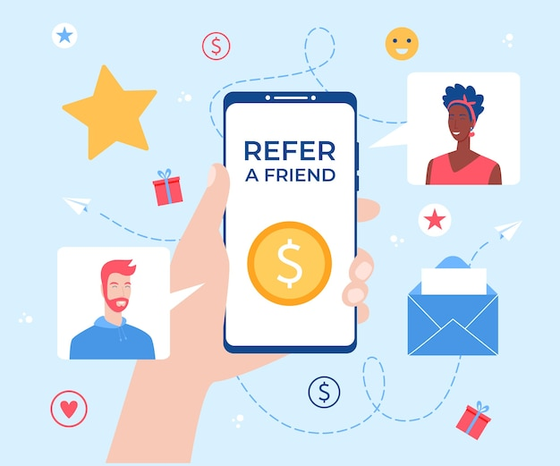 Refer a friend lettering. smartphone with gift box in hand. referral program concept.