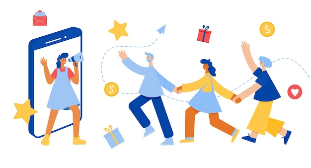 Refer a friend lettering. woman with megaphone. referral program concept. happy people holding hands.