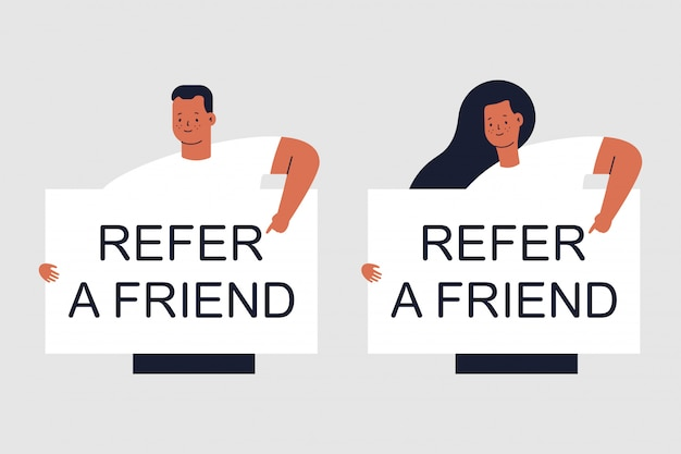 Refer a friend, man and woman characters isolated on grey