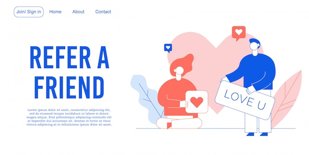 Refer friend mobile communication landing page