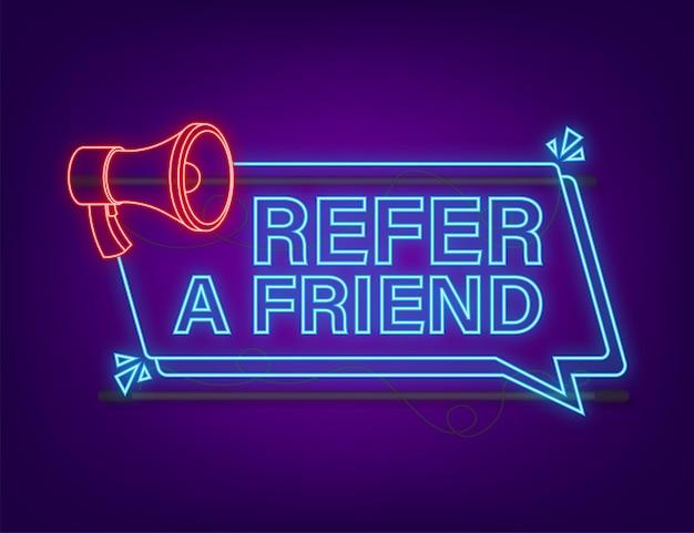 Refer a friend neon icon. business success. neon icon. vector stock illustration.