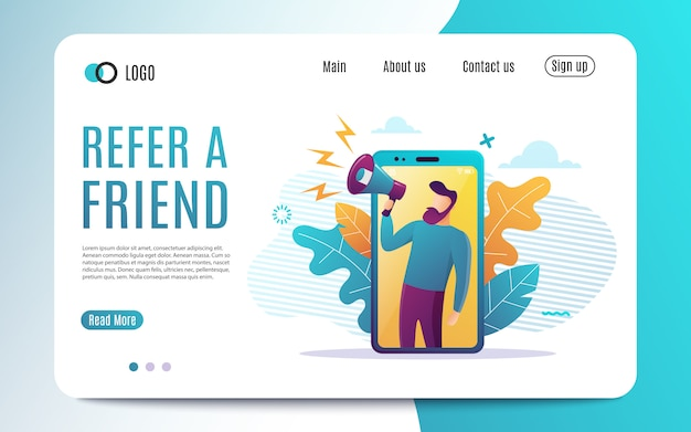 Refer a friend , people shout on megaphone with refer a friend word.