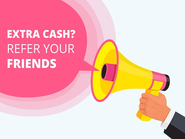 Refer friend poster. referral program concept loudspeaker in hand friendly placard template.
