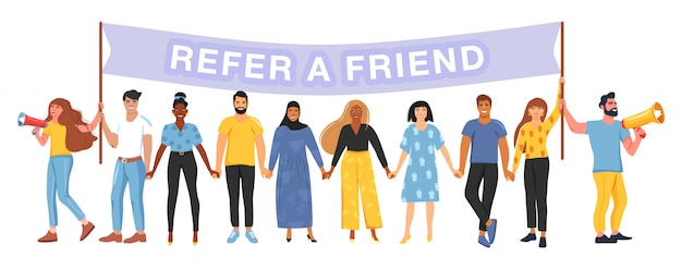 Refer a friend. referral marketing concept.