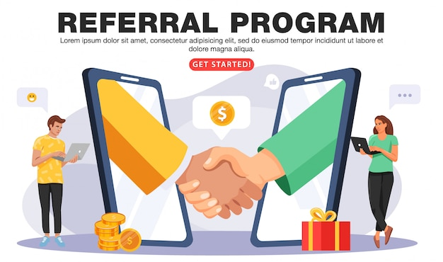 Refer a friend or referral marketing concept.