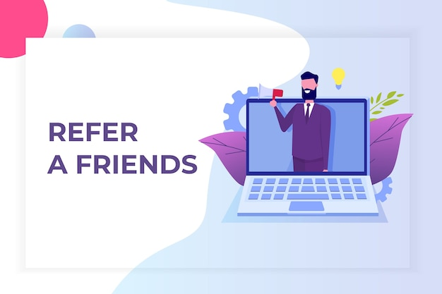 Refer a friend, referral network marketing.   recommend to  friend. share referral code  man shout on megaphone.