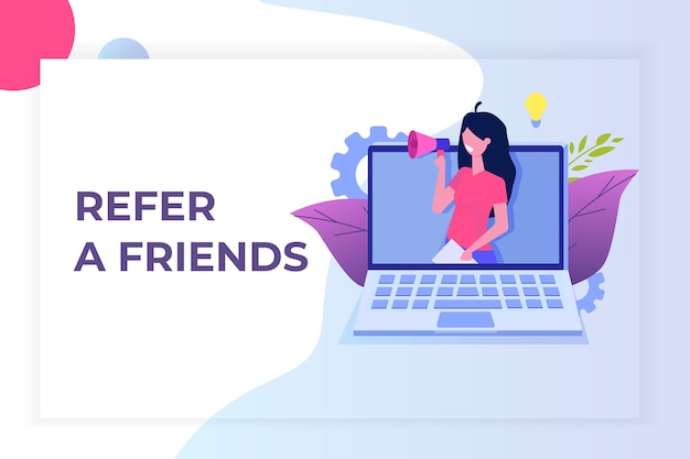 Refer a friend, referral network marketing.   recommend to  friend. share referral code  women shout on megaphone.