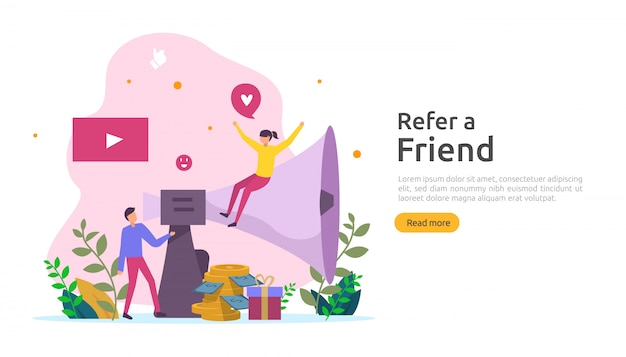 Refer a friend strategy and affiliate marketing concept . people character sharing referral business partnership and earn money. template for web landing page, banner, poster, print media