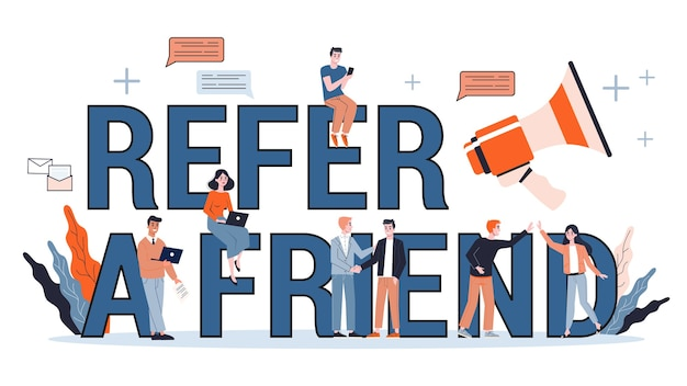 Refer a friend web banner concept. marketing strategy.   illustration in cartoon style
