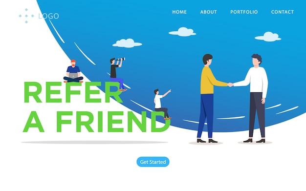 Refer a friend, website vector illustration