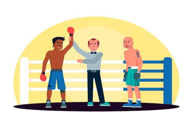 リングでアフリカ系アメリカ人のボクサーの勝利を発表する審判