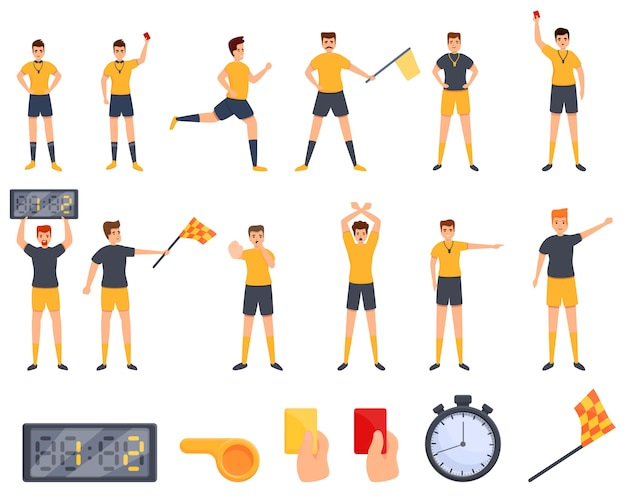 Referee icons set. cartoon set of referee vector icons