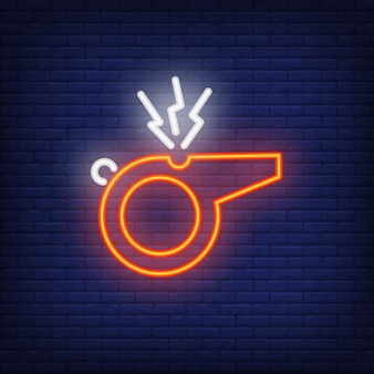 Referee whistle on brick background. neon style illustration. goal, trainer, signal.
