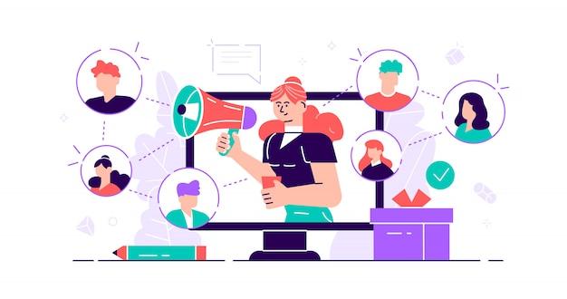 紹介の概念。インフルエンサー広告のための消費者向けオーディエンスコミュニケーションサービスのマーケティング。製品プロモーション担当者。新規顧客の口コミエンゲージメント方式。平らな小さなイラスト