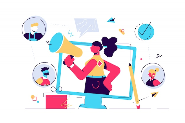 紹介の概念。インフルエンサー広告のための消費者向け視聴者コミュニケーションサービスのマーケティング。製品プロモーション担当者。新規顧客の口コミエンゲージメント方式。平らな小さなイラスト