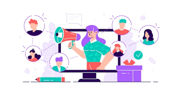 Referral concept. marketing consumer audience communication service for influencer advertising. products promotion persons. new customers word of mouth engagement method. flat tiny  illustration