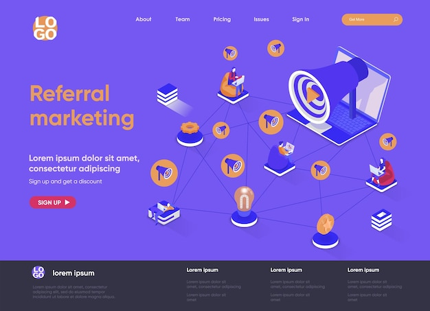 Реферальный маркетинг 3d изометрическая иллюстрация целевой страницы веб-сайта с персонажами людей