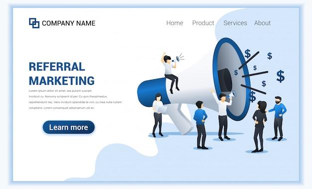 紹介マーケティングプログラムの人々のグループと紹介マーケティングの概念は、大きなメガホンで叫ぶ。