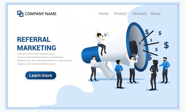 Referral marketing concept with group of people shout on big megaphone for referral marketing program.