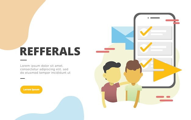 Referral marketing flat design banner illustration