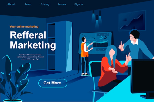 Referral marketing flat isometric landing page.