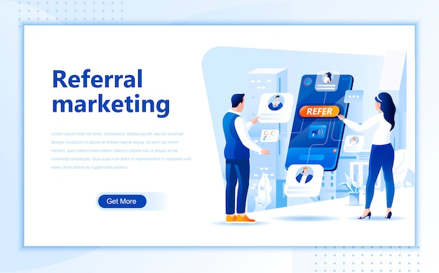 Referral marketing flat landing page template of homepage