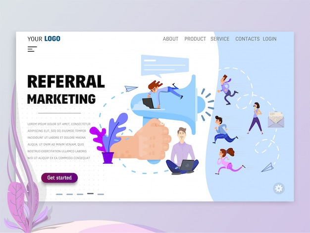 Referral marketing homepage template for website or landing page.