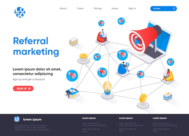 Referral marketing isometric landing page template