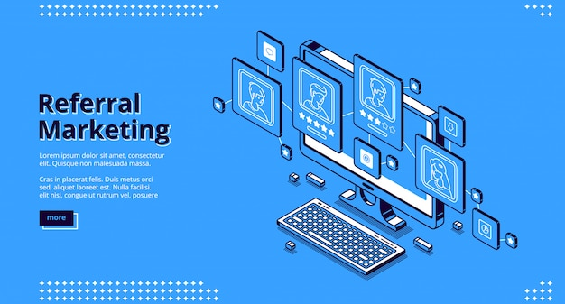 Referral marketing isometric landing page.