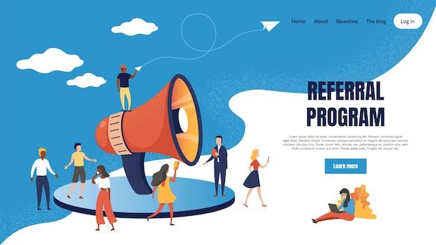 Referral marketing landing page. loudspeaker business announcements of referral loyalty program