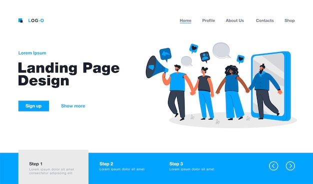 Referral marketing strategy landing page in flat style