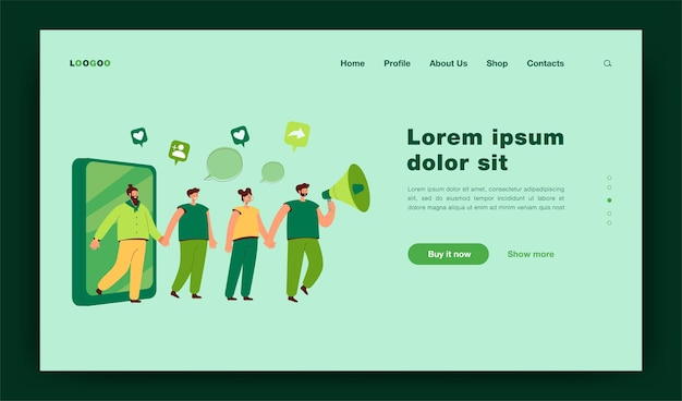 Referral marketing strategy. man attracting people with megaphone, friend loyalty program flat illustration