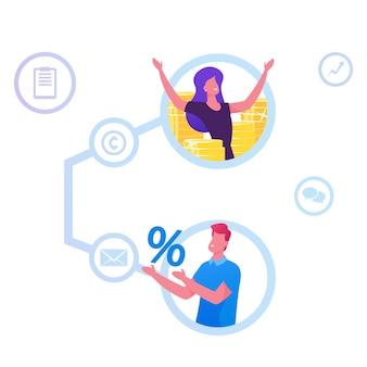 추천 프로그램, 제휴 마케팅, 온라인 비즈니스 개념. 만화 평면 그림