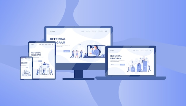 Referral program banner on differernt device, computer, laptop, tablet and smartphone. referral marketing and business partnership, referral program strategy and development.