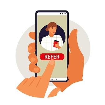 Referral program concept. hand holding phone. vector illustration. flat