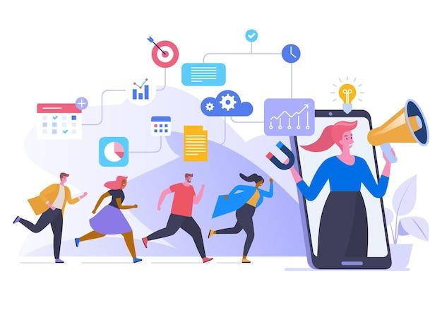 紹介プログラムフラットベクトルイラスト。スマートフォンに走っている人、メガホンの漫画のキャラクターで叫んでいる女性。バイラル広告、商品プロモーション。口コミネットワークの概念