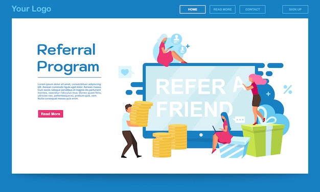 紹介プログラムのランディングページベクトルテンプレート。顧客の魅力は、平らなイラストで友人のウェブサイトを参照してください。ウェブサイトデザイン